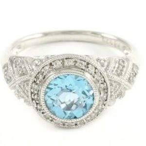 Ster. Silver & White Gold Topaz & Sapphire Ring